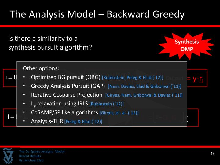 The Analysis Model – Backward Greedy