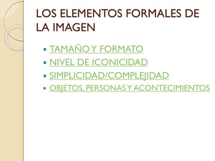 LOS ELEMENTOS FORMALES DE LA IMAGEN