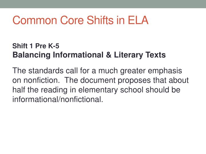 Common Core Shifts in ELA