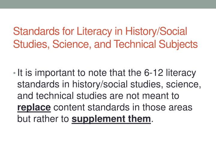 Standards for Literacy in History/Social