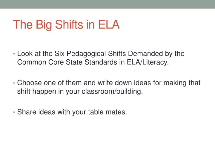 The Big Shifts in ELA