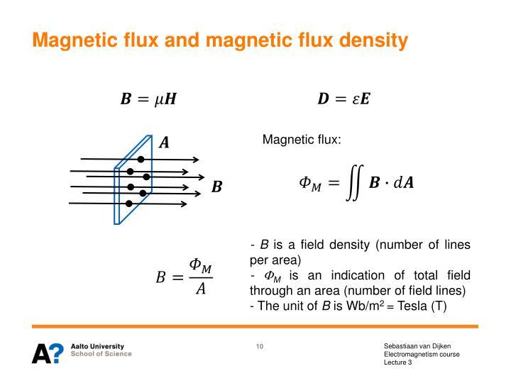 Magnetic flux and magnetic flux density