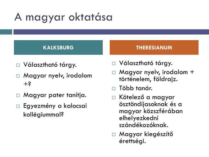 A magyar oktatása
