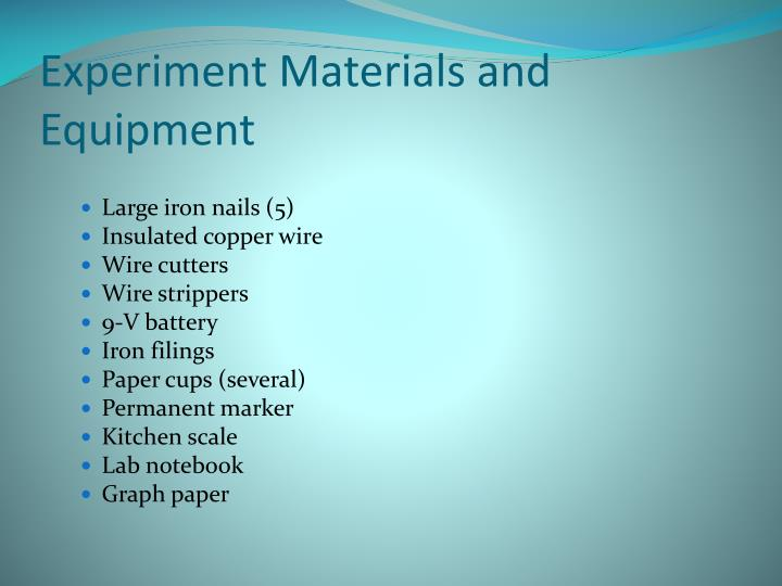 Experiment Materials and Equipment