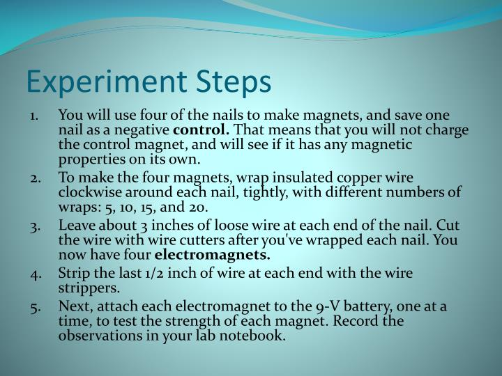 Experiment Steps