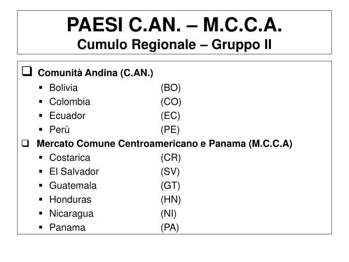 PAESI C.AN. – M.C.C.A.