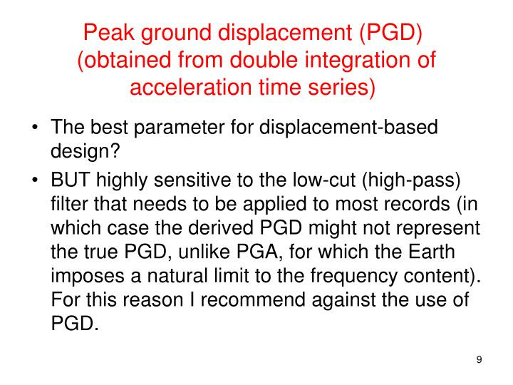 Peak ground displacement (PGD)