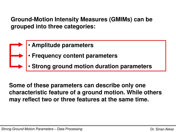 Ground-Motion Intensity Measures (GMIMs)