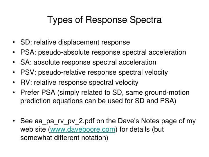 Types of Response Spectra