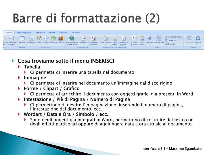 Barre di formattazione (2)