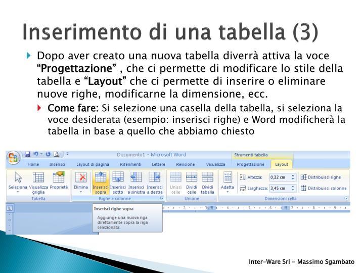 Inserimento di una tabella (3)