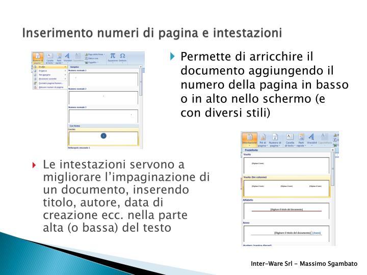 Inserimento numeri di pagina e intestazioni