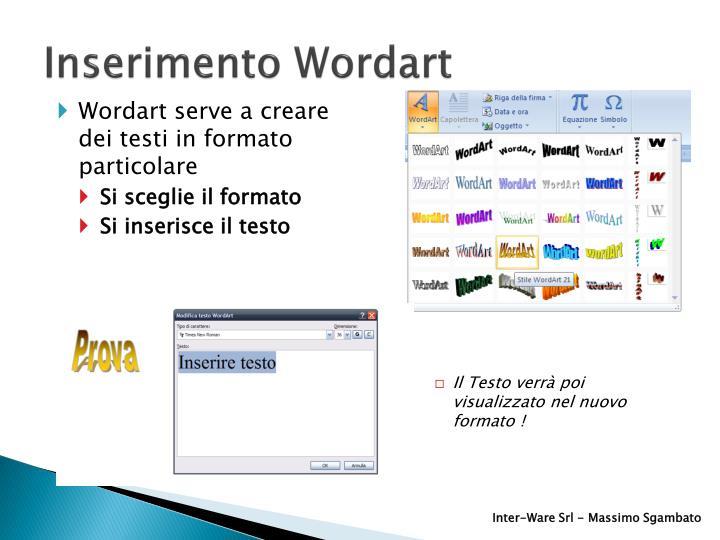 Inserimento Wordart