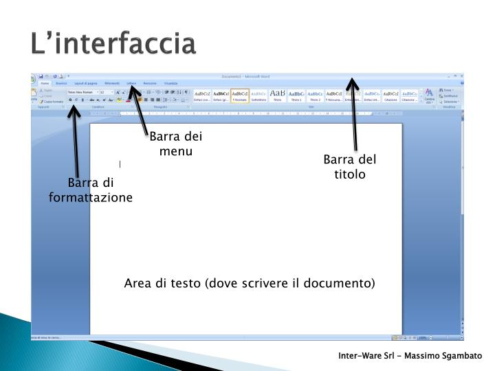 L'interfaccia