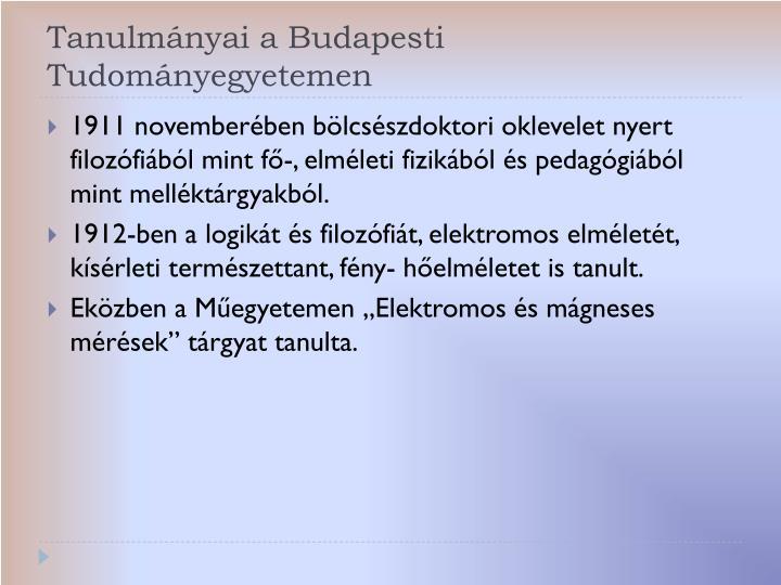 Tanulmányai a Budapesti Tudományegyetemen