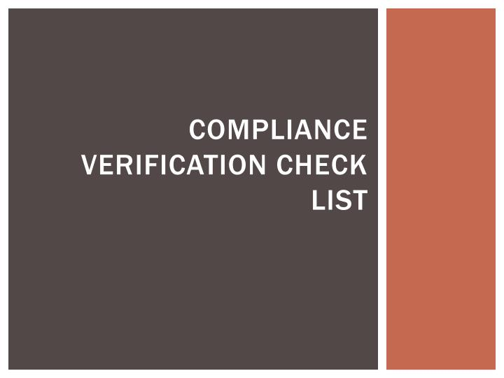 Compliance verification check list