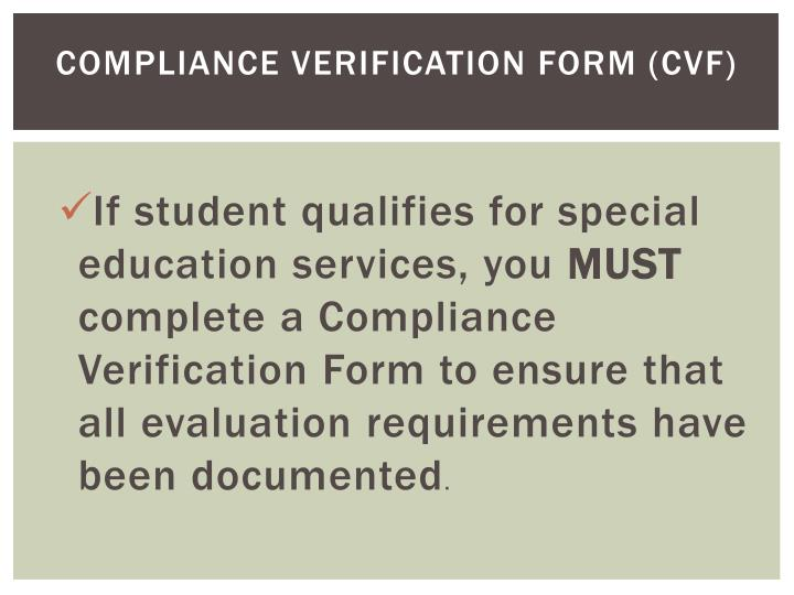Compliance Verification Form (CVF)