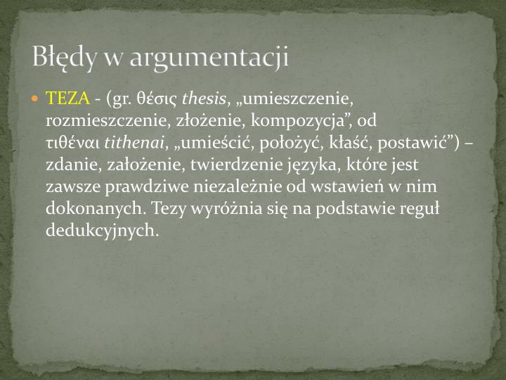 Błędy w argumentacji