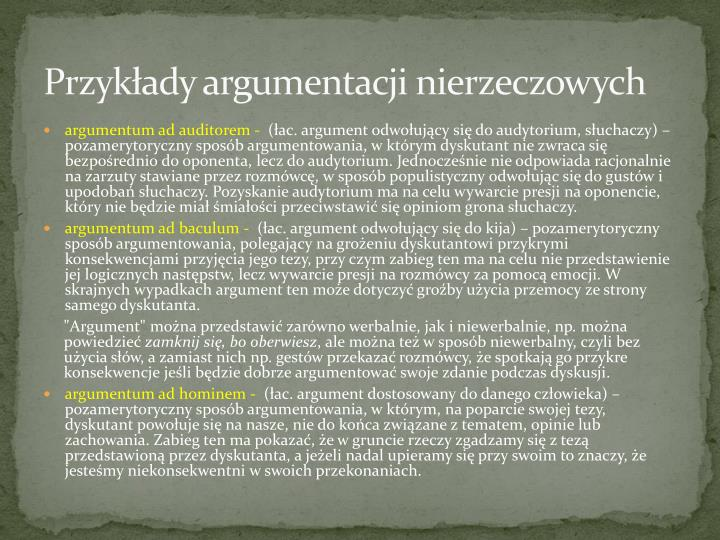Przykłady argumentacji nierzeczowych