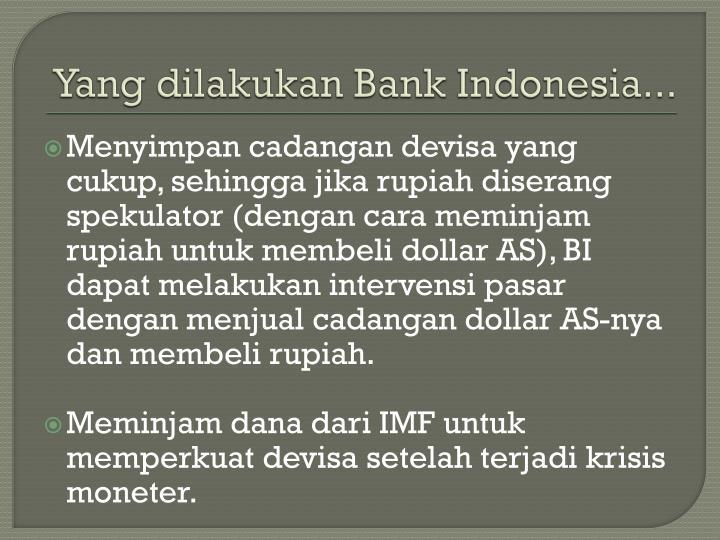 Yang dilakukan Bank Indonesia...