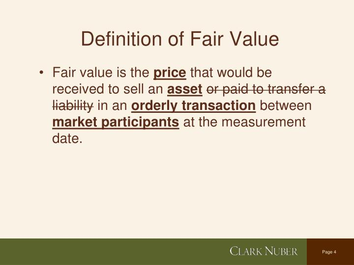 Definition of Fair Value