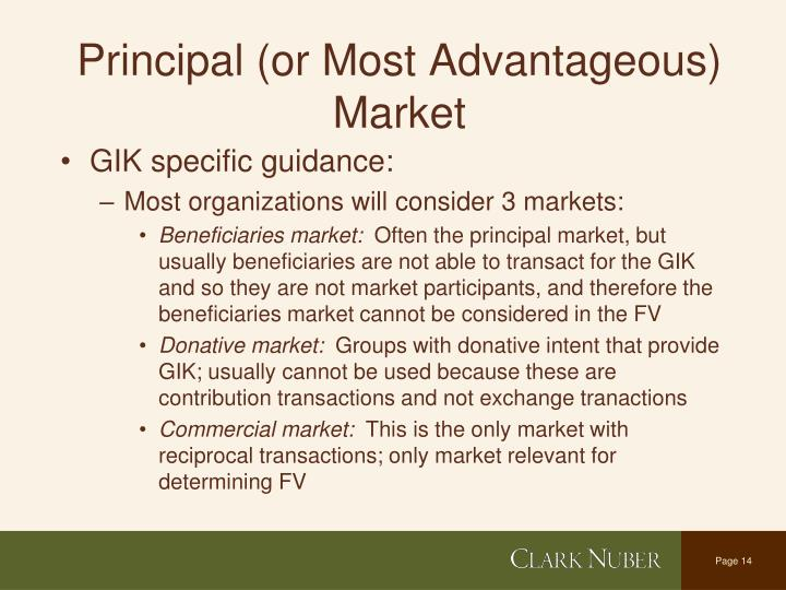 Principal (or Most Advantageous) Market