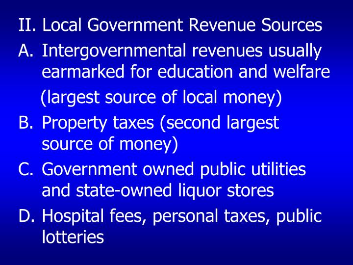 II. Local Government Revenue Sources