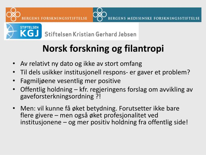 Norsk forskning og filantropi