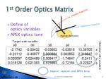 1 st order optics matrix