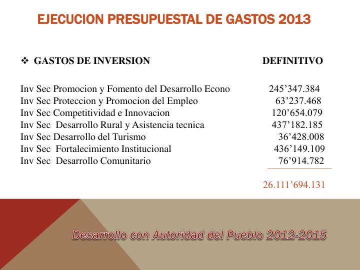 EJECUCION PRESUPUESTAL DE GASTOS 2013