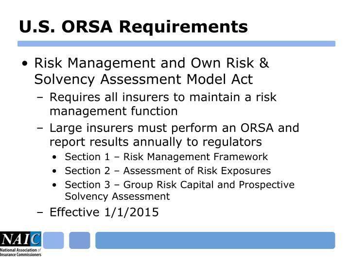 U.S. ORSA Requirements