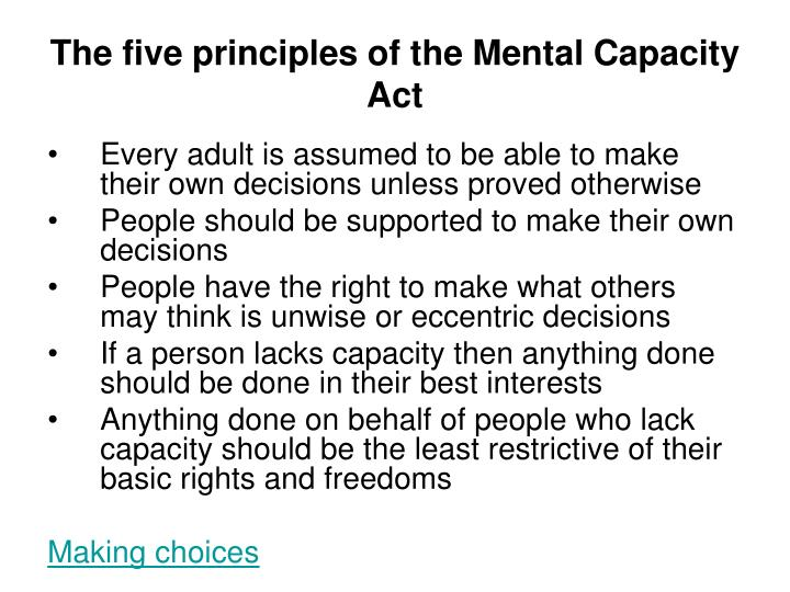 The five principles of the Mental Capacity Act