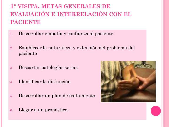 1ª visita, metas generales de evaluación e interrelación con el paciente