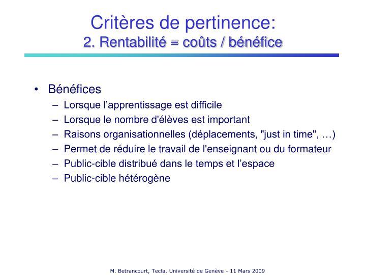 Critères de pertinence: