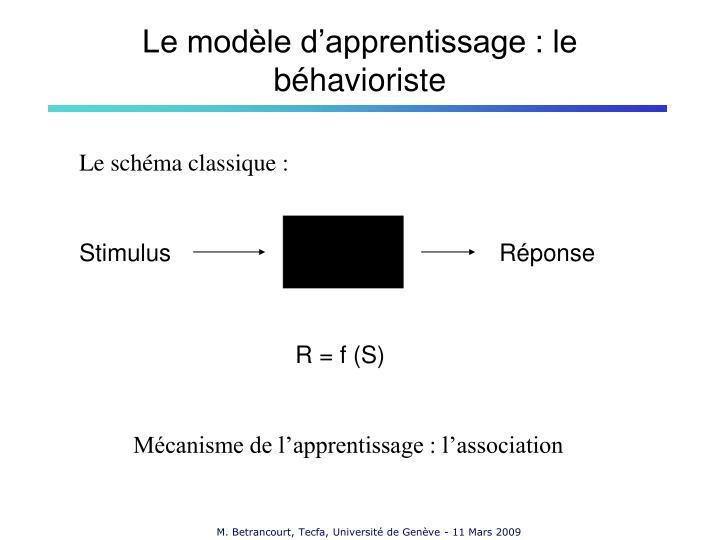 Le modèle d'apprentissage : le
