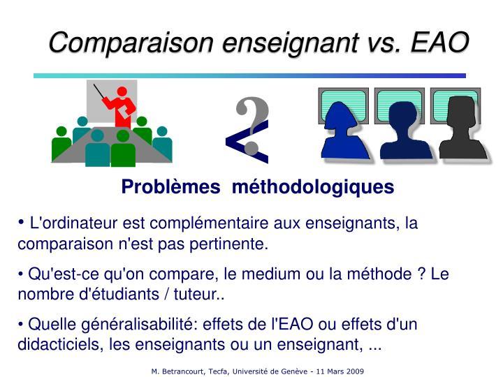 Comparaison enseignant vs. EAO