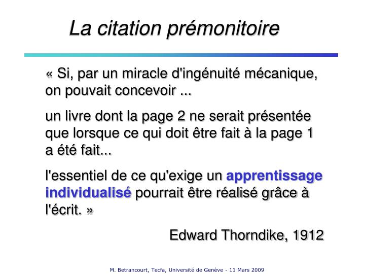 La citation prémonitoire