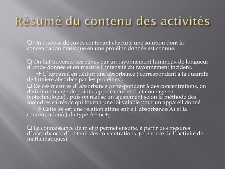 Résumé du contenu des activités