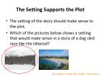 the setting supports the plot