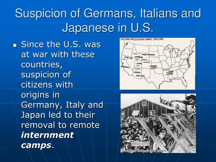 Suspicion of Germans, Italians and Japanese in U.S.