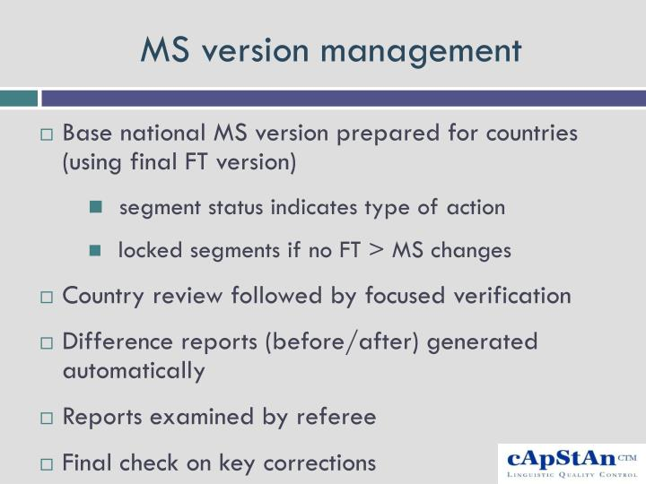 MS version management