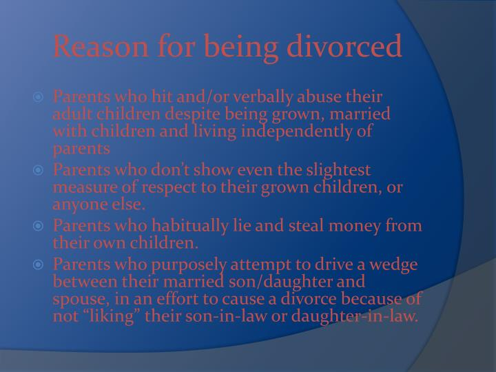 Reason for being divorced