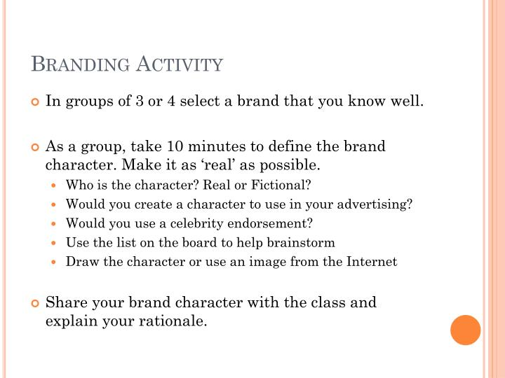 Branding Activity