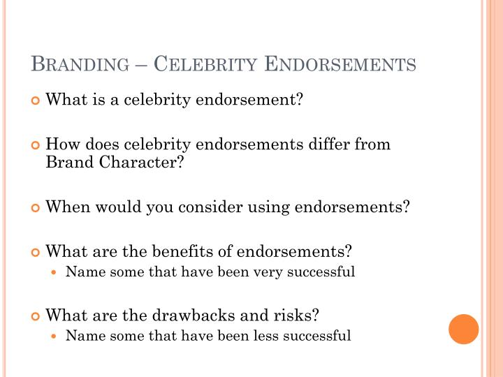 Branding – Celebrity Endorsements