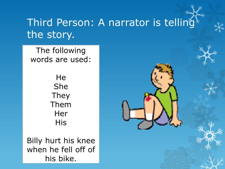 Third Person: A narrator is telling the story.