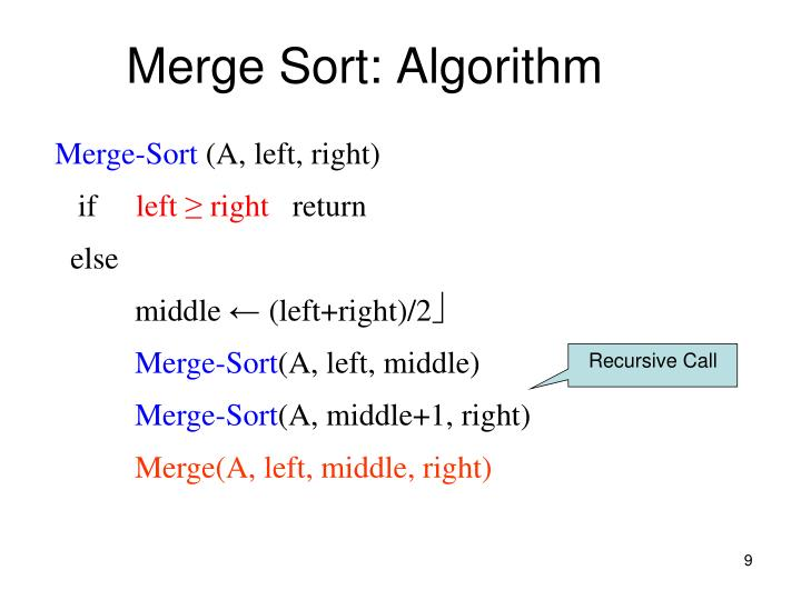 Merge Sort: Algorithm