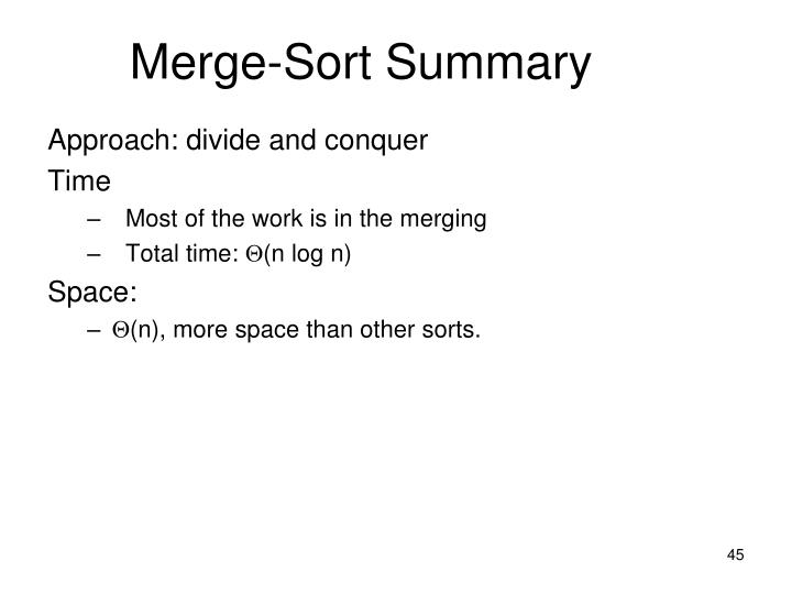 Merge-Sort Summary