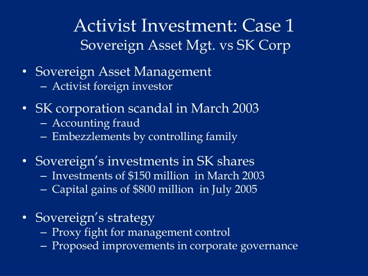 Activist Investment: Case 1