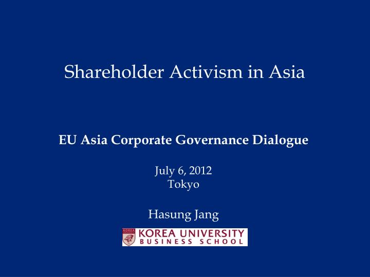 Shareholder activism in asia