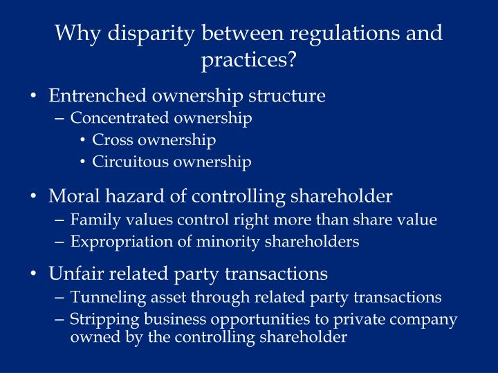 Why disparity between regulations and practices?